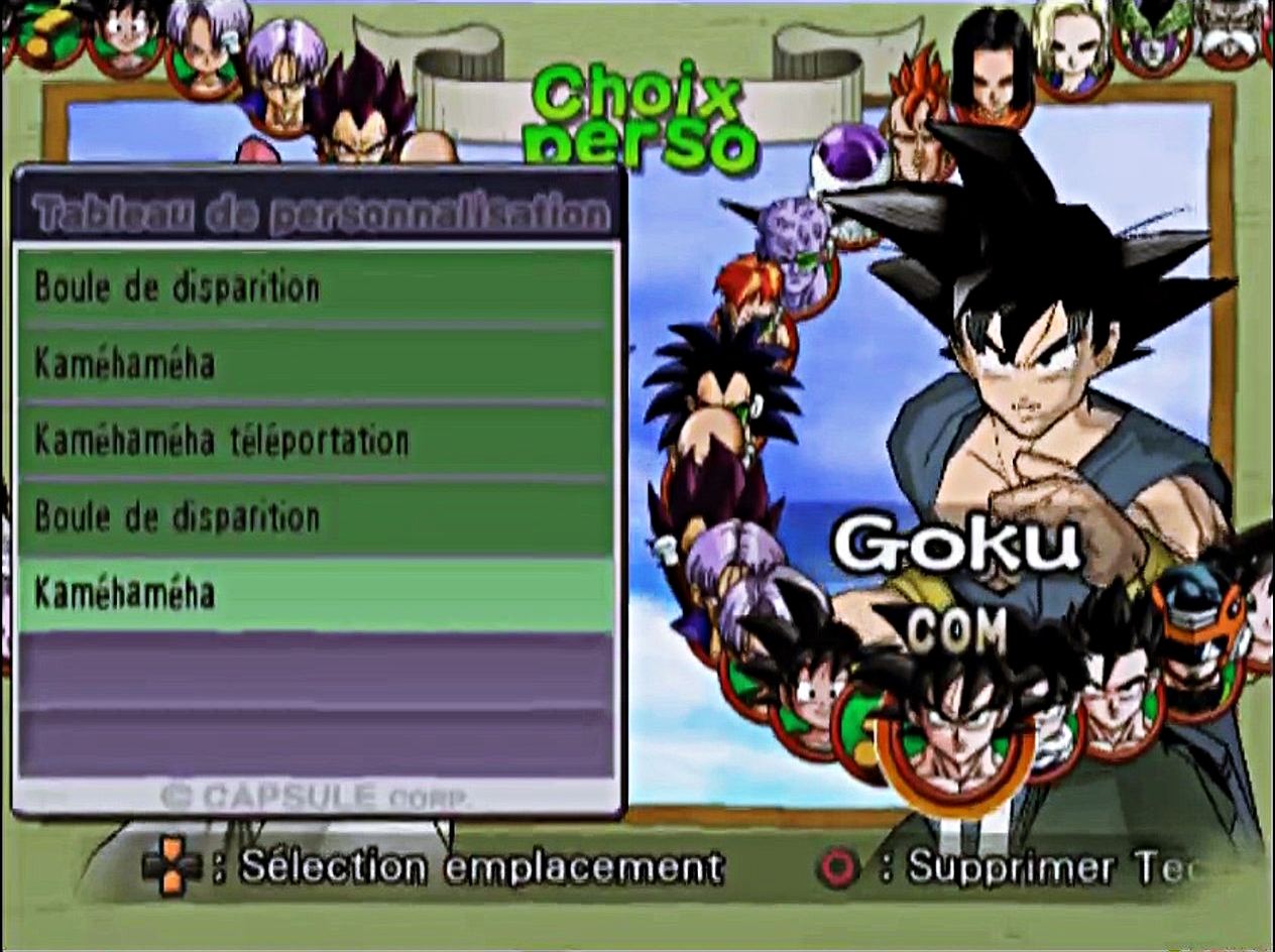 dragon ball z budokai 2 Modifications des techniques