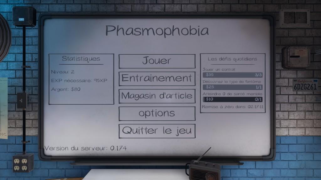 Phasmophobia - Menu